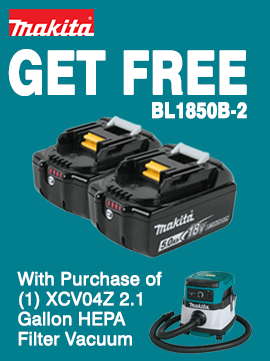Buy (1) Makita XCV04Z and get (1) BL1850B-2