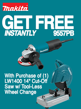 Free Makita 9557PB Grinder with purchase of LW1400